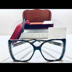 Gucci Eyeglasses Havana Brown Oversized Square New